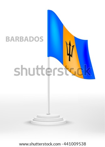 National flag of Barbados on a pole. vector country national symbol on a white background - stock vector