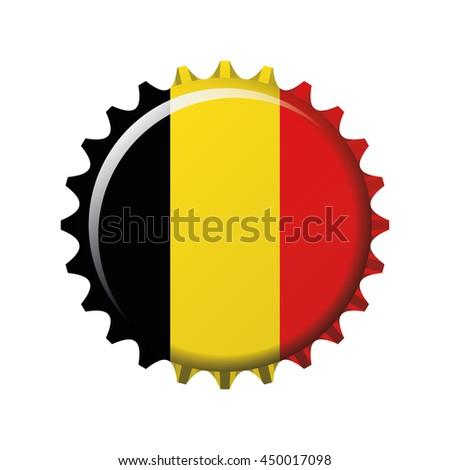 National flag of Belgium  on a bottle cap. Vector Illustration - stock vector