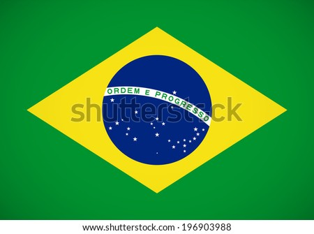 National flag of Brazil with correct proportions and color scheme - stock vector