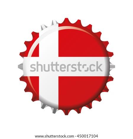 National flag of Denmark on a bottle cap. Vector Illustration - stock vector
