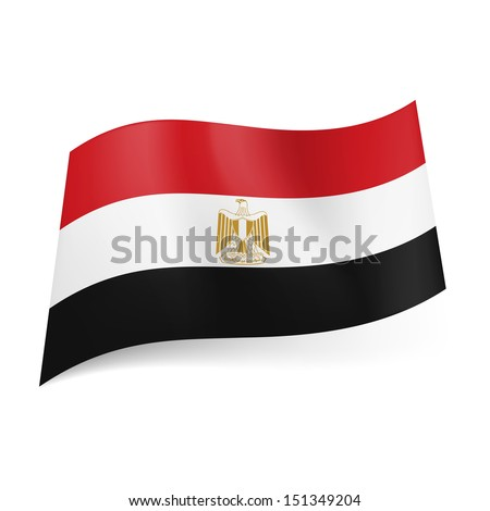 National flag of Egypt: red, white and black horizontal stripes with Eagle of Saladin in centre. - stock vector