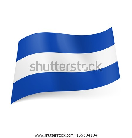 National flag of El Salvador: central white stripe between blue ones. - stock vector