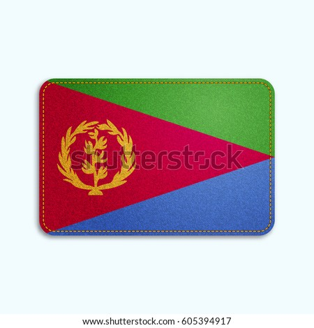 National flag of Eritrea with denim texture and orange seam. Realistic image of a tissue made in vector illustration.