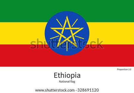 National flag of Ethiopia with correct proportions, element, colors for education books and official documentation - stock vector