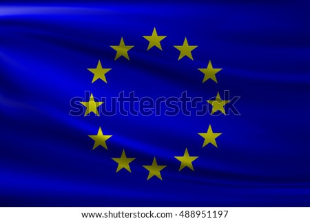 National flag of European Union. Wavy realistic