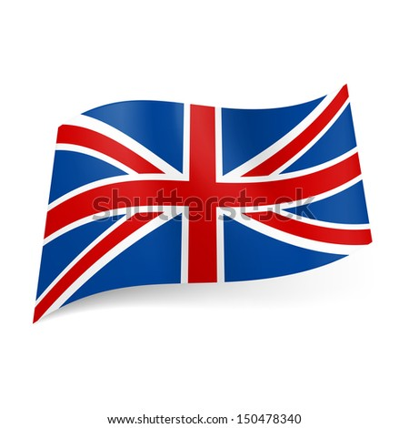 National flag of Great Britain, called Union Jack. Blue, red and white colored banner. - stock vector