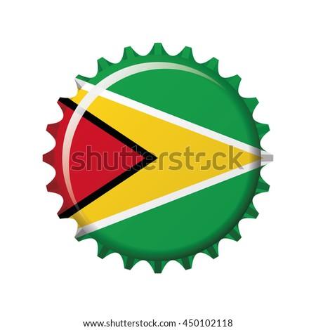 National flag of Guyana on a bottle cap. Vector Illustration - stock vector