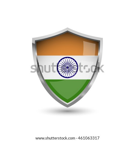 National flag of India. Flag on the metal shield with glare.