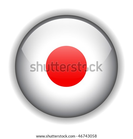 National flag of Japan, glossy button, vector - stock vector