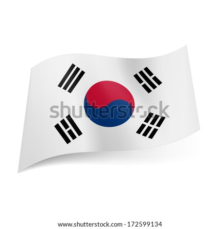 National flag of South Korea: blue and red yin and yang symbol with four black trigrams on white background - stock vector