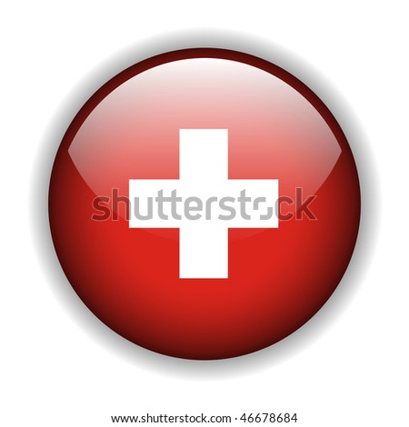 National flag of Switzerland, Swiss flag. glossy button, vector - stock vector