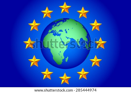 National flag of the European Union and Earth globe. Elements of this image furnished by NASA. All objects are independent and fully editable  - stock vector
