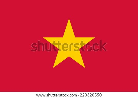 National flag of Vietnam in official colors (red flag with a gold star) - stock vector