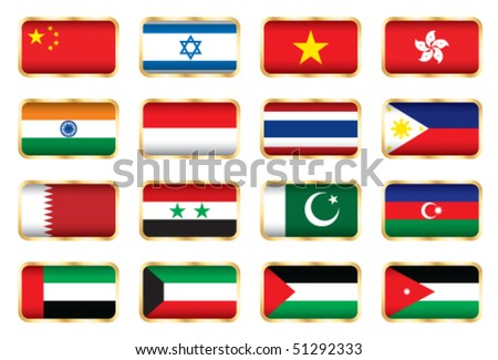 National flags - Asian set. Vector.