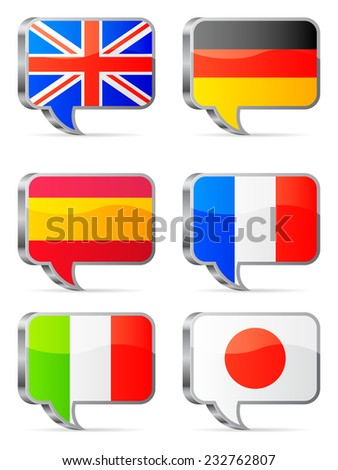 National flags of different countries in shape of speech bubbles.