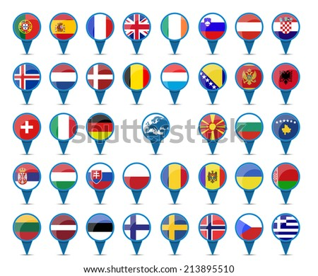 National flags of europe in sign shape design - stock vector