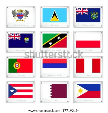 National Flags of Saint Barthelemy, Saint Lucia, Pitcairn Islands, Saint Helena, Saint Kitts and Nevis, Poland, Portugal, Republika Srpska, Peru, Puerto Rico, Qatar and Philippines.