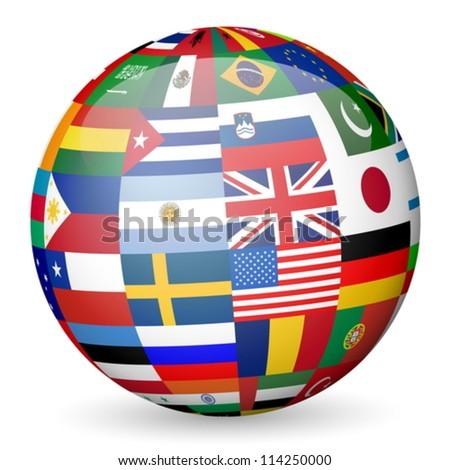 National flags sphere on white background. Vector illustration.