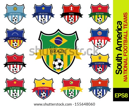 national football teams of south america - stock vector