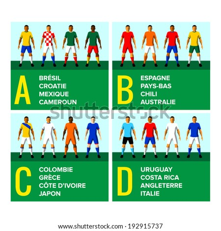 National football teams uniforms vector illustration with the names of the countries in French