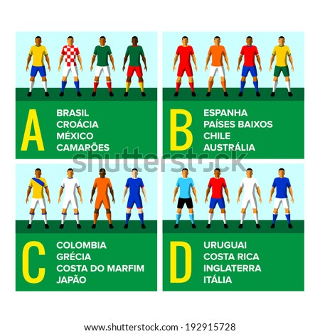 National football teams uniforms vector illustration with the names of the countries in Portuguese - stock vector