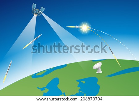 National missile defense system - stock vector