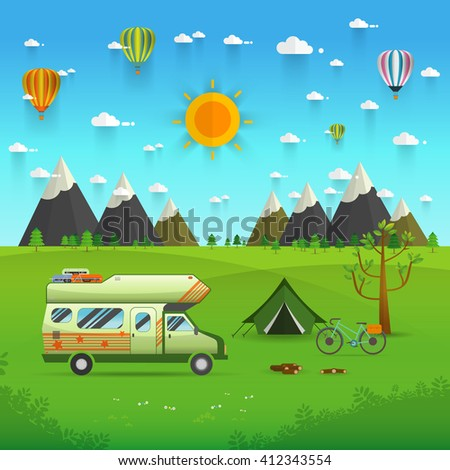 National mountain park camping scene with family trailer caravan . Campsite place landscape with RV traveler truck, tent,bike, campfire, Hiking journey vacation concept.vector illustration - stock vector