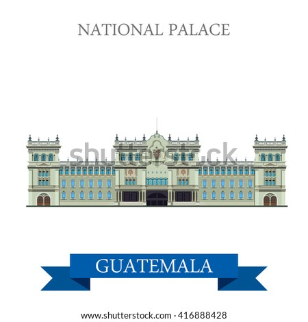 National Palace of Culture in Guatemala. Flat cartoon style historic sight showplace attraction web site vector illustration. World countries cities vacation travel sightseeing Amarica collection. - stock vector