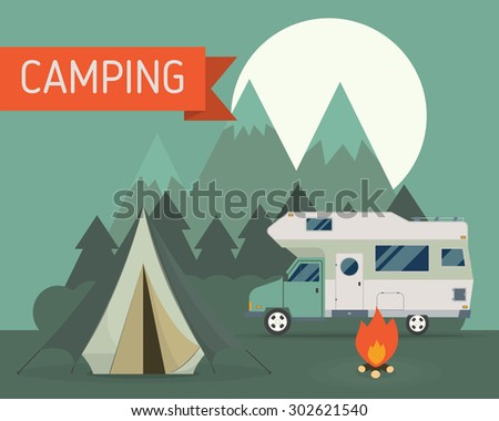 National park mountain campground scene with camper trailer at night. Campsite landscape. RV traveler truck, tent, campfire, wood and moon. Camping caravan outdoor traveling vacation illustration.  - stock vector