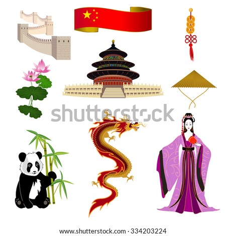 National symbols of China: chinese woman in a lilac dress, Temple of Heaven, the Great Wall of China and panda. It can be used for travel design template.