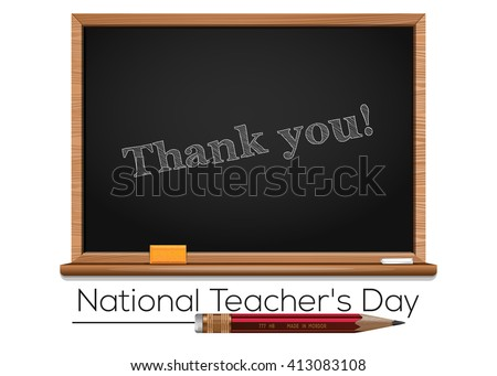 National Teacher's Day. Teacher Day - national holiday held annually in USA since 1984 on Tuesday of 1st full week of May. Chalk text on blackboard - Thank you. Vector illustration - stock vector