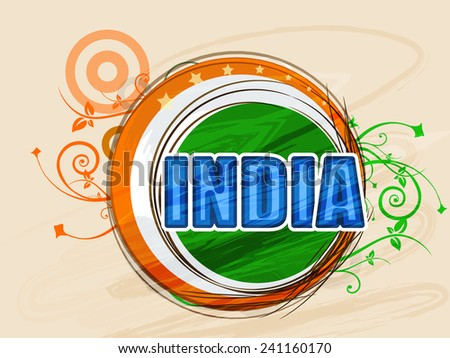National tricolor sticky design with text India on floral decorated background for Indian Republic Day celebration. - stock vector