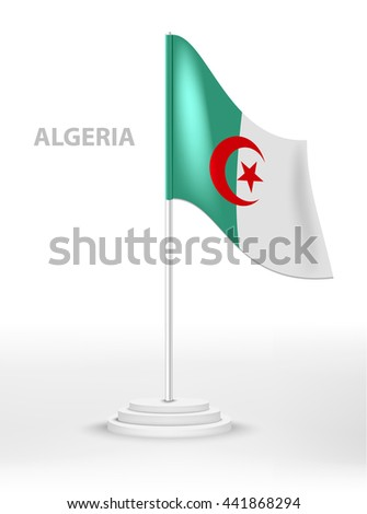 National waving flag of Algeria on a pole. vector 3d country national symbol on a white background  - stock vector