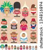 Nationalities Part 2: Set of 12 characters dressed in different national costumes. Each character is in 2 color versions depending on the background. No transparency and gradients used. - stock vector