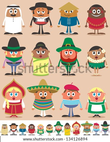 Nationalities Part 1: Set of 12 characters dressed in different national costumes. Each character is in 2 color versions depending on the background. No transparency and gradients used. - stock vector