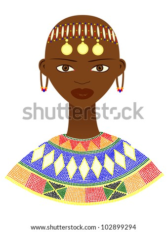 Native African woman with traditional jewelry - stock vector