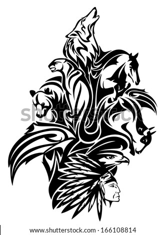 Native American chief with animal spirits design - black and white tribal composition - stock vector