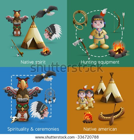 Native american design icons set with persons in national dress and lifestyle elements vector illustration - stock vector
