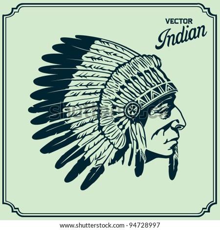 Native American Head - stock vector