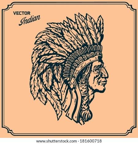 Native American Indian - stock vector