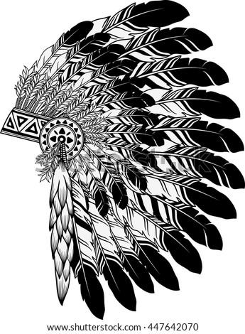 native american indian chief headdress - stock vector