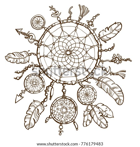 Native American Indian Dream Catcher Design Stock Vector (Royalty ...
