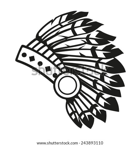native american indian headdress vector stock photo photo vector rh shutterstock com Indian Headdress Drawing Simple Indian Headdress Clip Art