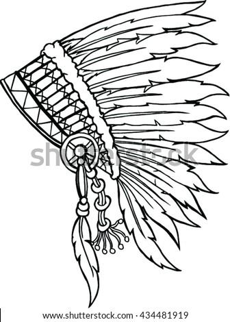 Native American Indian Headdress Vector Illustration Stock Vector ...