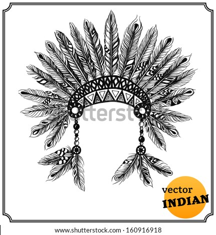 Native American indian headdress with feathers in a sketch style. Hand-drawn card. Vector illustration. - stock vector