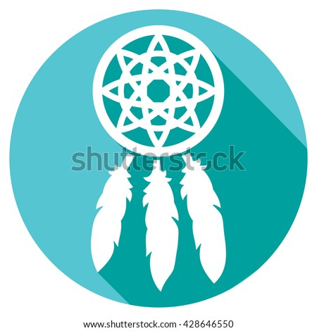 native american indian talisman dreamcatcher flat icon - stock vector