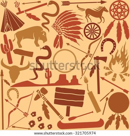 native american indians icons seamless pattern - stock vector
