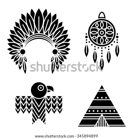 Native American Indians Icons Set Tribal Stock Vector 345894899
