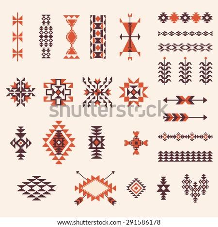 Native american navajo aztec pattern vector elements design set - stock vector