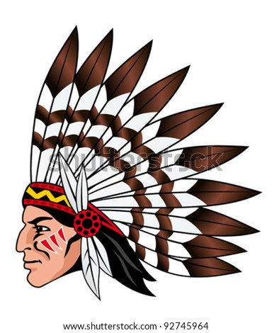 Native american people with feathers on the head for mascot and emblems - stock vector